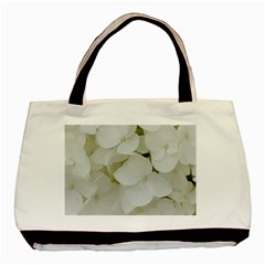 Hydrangea Flowers Blossom White Floral Photography Elegant Bridal Chic  Basic Tote Bag (Two Sides)