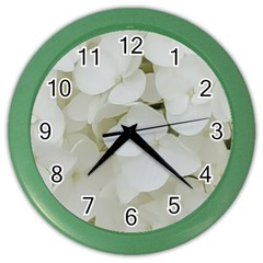 Hydrangea Flowers Blossom White Floral Photography Elegant Bridal Chic  Color Wall Clocks
