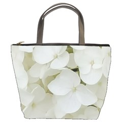 Hydrangea Flowers Blossom White Floral Photography Elegant Bridal Chic  Bucket Bags
