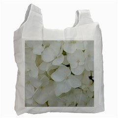 Hydrangea Flowers Blossom White Floral Photography Elegant Bridal Chic  Recycle Bag (Two Side)