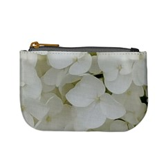 Hydrangea Flowers Blossom White Floral Photography Elegant Bridal Chic  Mini Coin Purses