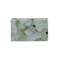 Hydrangea Flowers Blossom White Floral Photography Elegant Bridal Chic  Cosmetic Bag (Small)