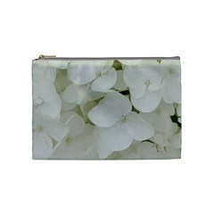 Hydrangea Flowers Blossom White Floral Photography Elegant Bridal Chic  Cosmetic Bag (Medium)