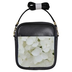 Hydrangea Flowers Blossom White Floral Photography Elegant Bridal Chic  Girls Sling Bags