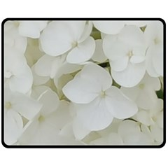 Hydrangea Flowers Blossom White Floral Photography Elegant Bridal Chic  Fleece Blanket (Medium)