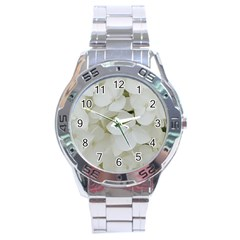 Hydrangea Flowers Blossom White Floral Photography Elegant Bridal Chic  Stainless Steel Analogue Watch