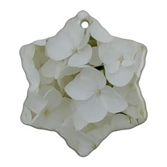Hydrangea Flowers Blossom White Floral Photography Elegant Bridal Chic  Snowflake Ornament (Two Sides)