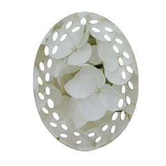 Hydrangea Flowers Blossom White Floral Photography Elegant Bridal Chic  Oval Filigree Ornament (Two Sides)