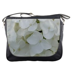 Hydrangea Flowers Blossom White Floral Photography Elegant Bridal Chic  Messenger Bags