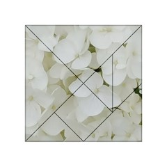 Hydrangea Flowers Blossom White Floral Photography Elegant Bridal Chic  Acrylic Tangram Puzzle (4  x 4 )