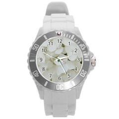 Hydrangea Flowers Blossom White Floral Photography Elegant Bridal Chic  Round Plastic Sport Watch (L)