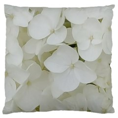 Hydrangea Flowers Blossom White Floral Photography Elegant Bridal Chic  Large Cushion Case (Two Sides)