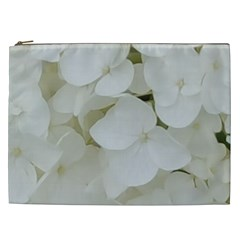 Hydrangea Flowers Blossom White Floral Photography Elegant Bridal Chic  Cosmetic Bag (XXL)