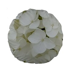 Hydrangea Flowers Blossom White Floral Photography Elegant Bridal Chic  Standard 15  Premium Round Cushions
