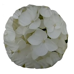 Hydrangea Flowers Blossom White Floral Photography Elegant Bridal Chic  Large 18  Premium Round Cushions