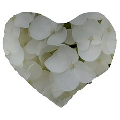 Hydrangea Flowers Blossom White Floral Photography Elegant Bridal Chic  Large 19  Premium Heart Shape Cushions