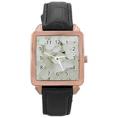 Hydrangea Flowers Blossom White Floral Photography Elegant Bridal Chic  Rose Gold Leather Watch