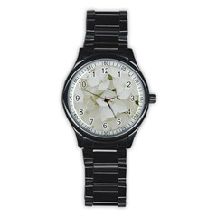 Hydrangea Flowers Blossom White Floral Photography Elegant Bridal Chic  Stainless Steel Round Watch