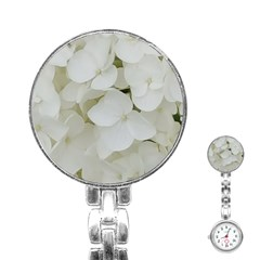 Hydrangea Flowers Blossom White Floral Photography Elegant Bridal Chic  Stainless Steel Nurses Watch