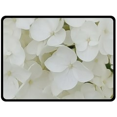 Hydrangea Flowers Blossom White Floral Photography Elegant Bridal Chic  Double Sided Fleece Blanket (Large)