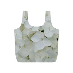 Hydrangea Flowers Blossom White Floral Photography Elegant Bridal Chic  Full Print Recycle Bags (S)