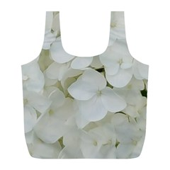 Hydrangea Flowers Blossom White Floral Photography Elegant Bridal Chic  Full Print Recycle Bags (L)
