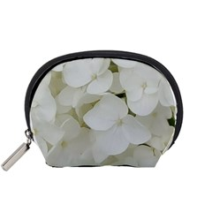 Hydrangea Flowers Blossom White Floral Photography Elegant Bridal Chic  Accessory Pouches (Small)
