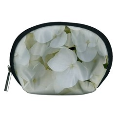Hydrangea Flowers Blossom White Floral Photography Elegant Bridal Chic  Accessory Pouches (Medium)