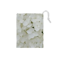Hydrangea Flowers Blossom White Floral Photography Elegant Bridal Chic  Drawstring Pouches (Small)