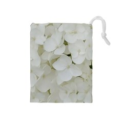 Hydrangea Flowers Blossom White Floral Photography Elegant Bridal Chic  Drawstring Pouches (Medium)