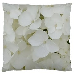 Hydrangea Flowers Blossom White Floral Photography Elegant Bridal Chic  Large Flano Cushion Case (Two Sides)