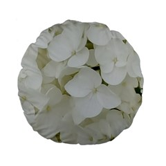 Hydrangea Flowers Blossom White Floral Photography Elegant Bridal Chic  Standard 15  Premium Flano Round Cushions