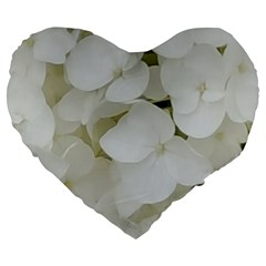 Hydrangea Flowers Blossom White Floral Photography Elegant Bridal Chic  Large 19  Premium Flano Heart Shape Cushions