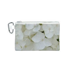 Hydrangea Flowers Blossom White Floral Photography Elegant Bridal Chic  Canvas Cosmetic Bag (S)