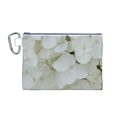 Hydrangea Flowers Blossom White Floral Photography Elegant Bridal Chic  Canvas Cosmetic Bag (M)