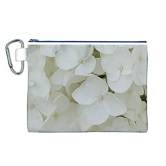 Hydrangea Flowers Blossom White Floral Photography Elegant Bridal Chic  Canvas Cosmetic Bag (L)