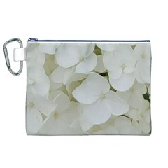 Hydrangea Flowers Blossom White Floral Photography Elegant Bridal Chic  Canvas Cosmetic Bag (XL)