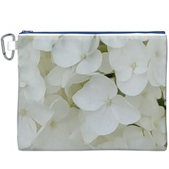 Hydrangea Flowers Blossom White Floral Photography Elegant Bridal Chic  Canvas Cosmetic Bag (XXXL)
