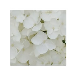 Hydrangea Flowers Blossom White Floral Photography Elegant Bridal Chic  Small Satin Scarf (Square)