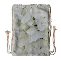 Hydrangea Flowers Blossom White Floral Photography Elegant Bridal Chic  Drawstring Bag (Large)
