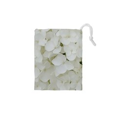 Hydrangea Flowers Blossom White Floral Photography Elegant Bridal Chic  Drawstring Pouches (XS)