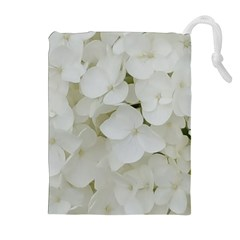 Hydrangea Flowers Blossom White Floral Photography Elegant Bridal Chic  Drawstring Pouches (Extra Large)