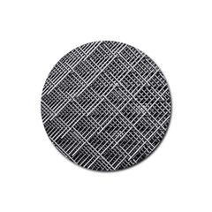 Pattern Metal Pipes Grid Rubber Coaster (Round)