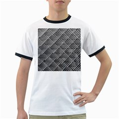 Pattern Metal Pipes Grid Ringer T Shirts