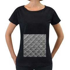 Pattern Metal Pipes Grid Women s Loose Fit T Shirt (black)