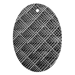 Pattern Metal Pipes Grid Oval Ornament (Two Sides)