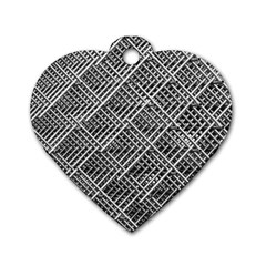Pattern Metal Pipes Grid Dog Tag Heart (One Side)