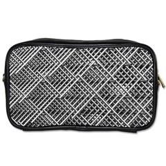 Pattern Metal Pipes Grid Toiletries Bags 2-Side