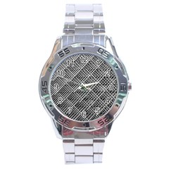 Pattern Metal Pipes Grid Stainless Steel Analogue Watch