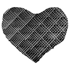 Pattern Metal Pipes Grid Large 19  Premium Heart Shape Cushions